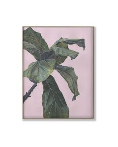Banana Leaf on Pink 1 Digital Print On Canvas Framed Wall Art