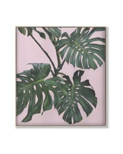 Banana Leaf on Pink 2 Digital Print On Canvas Framed Wall Art