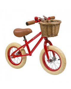 Vintage Style Toddler Balance Bike With Basket in Red- Optional Matching Bike Helmet Available