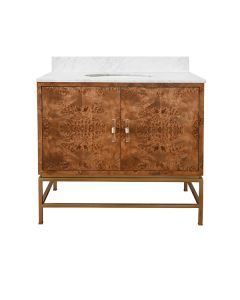 World's Away Bath Vanity in Matte Dark Burl Wood and Antique Brass with White Marble - ON BACKORDER UNTIL MID-MARCH 2021