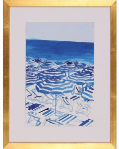 Beach Inspired Framed Lithograph in Blue