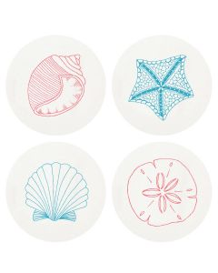 Beach Shells Letterpresses Coasters-Set of 100 - IN STOCK IN GREENWICH, CT FOR QUICK SHIPPING