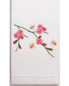 Bees & Flowers Hand Towel in White Cotton - Set of 2