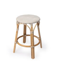 Beige and White Rattan Frame Counter Stool with Plastic Woven Seat ON BACKORDER UNTIL AUGUST 2021