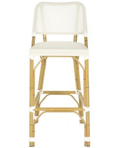 Beige Indoor-Outdoor Bar Stool With Faux Bamboo Frame