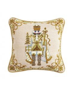 Beige Nutcracker Needlepoint Holiday Pillow - ON BACKORDER UNTIL AUGUST 2021