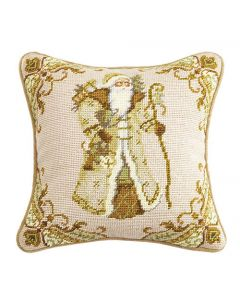Beige Santa Needlepoint Holiday Pillow - ON BACKORDER UNTIL AUGUST 2021