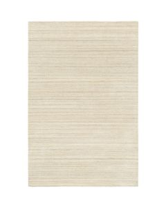 Beige Wool Hand Loomed Rug With Distressed Striped Pattern