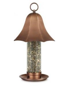 Bell Tube Bird Feeder with Copper-Finish Roof