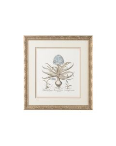 Besler Botanical In Blue II Triple Mat Hand Painted Lithograph in Antique Silver Frame