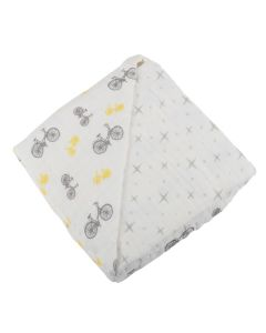 Bicycles and Stars Bamboo Muslin Baby Blanket
