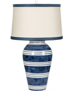 Bimini Blue and White Striped Nautical Ceramic Table Lamp with Matching Shade