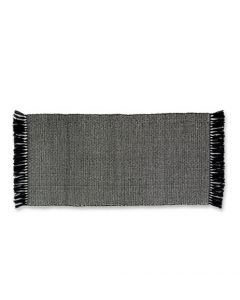 Black and White Super Soft Fringed Bath Mat - Available in Multiple Sizes