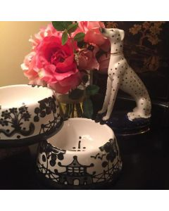 Black Chinoiserie Dog Bowl - Can be Personalized