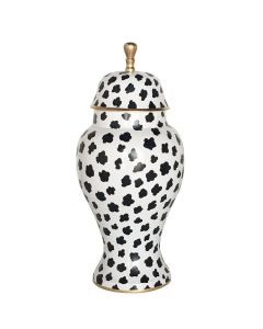 Black Speckle Ginger Jar with Golden Edge