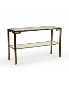 Black and Gold Console with Clear Glass Top
