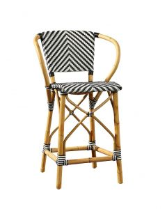 Black & White French Bistro Chevron Rattan Riviera Counter Stool