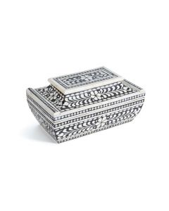 Black and White Pagoda Bone Box with Removable Lid