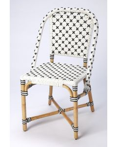 Black and White Rattan Frame Dining Chair with Plastic Woven Seat