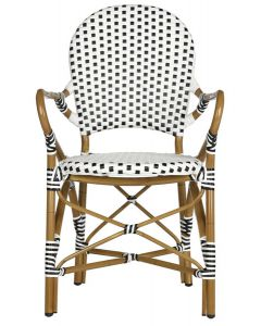 Black and White Stacking Bistro Armchair - Set of 2 - ON BACKORDER UNTIL LATE OCTOBER 2019
