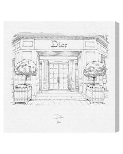 Black and White Vintage Dior Storefront Framed Wall Art