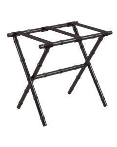 Black Bamboo Inspired Wood Luggage Rack With 3 Fine Black Nylon Straps