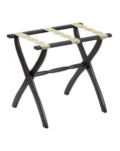 Black Contour Leg Wood Luggage Rack with 3 Petit Point Straps