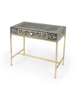Black Desk with White Bone Inlay, Gold Legs and Floral Pulls - ON BACKORDER UNTIL MARCH 2021