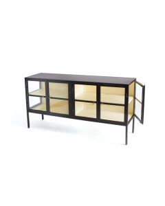 Black Iron Console Table with Glass Doors