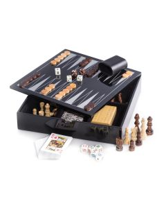 Black Lacquered Wood Multi Game Board Set