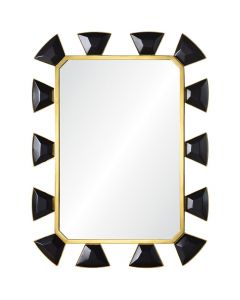 Celerie Kemble Black Leather & Burnished Brass Mirror