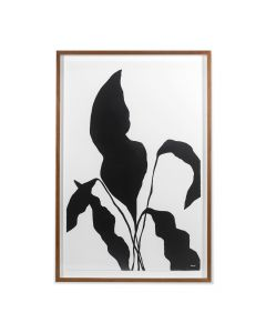 Black Silhouetted Flower 1 Framed Wall Art - Available in 2 Sizes