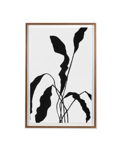 Black Silhouetted Flower 2 Framed Wall Art - Available in 2 Sizes