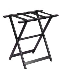 Black Tall Wood Luggage Rack With 4 Black Nylon Straps