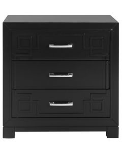 Black Three Drawer Greek Key Night Stand