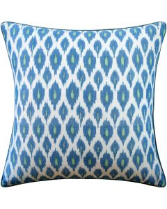 Blue and Green Ikat Cotton Square Decorative Pillow – Available in Two Sizes