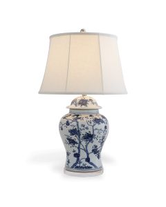 Blue and White Floral Temple Jar Table Lamp