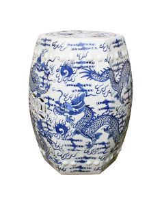 Blue and White Hexagon Dragons Porcelain Garden Stool