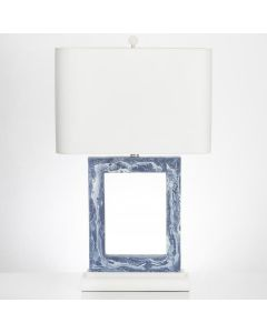 Blue and White Marbled Rectangle Resin Table Lamp with Shade