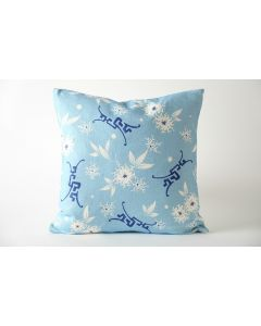 Blue and White Patterned Decorative Cotton Pillow