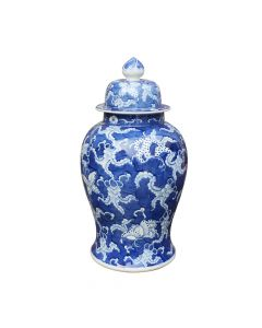 Blue and White Porcelain Butterfly Temple Jar