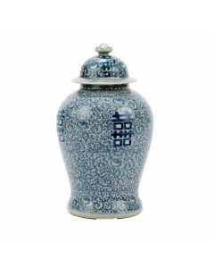 Blue and White Porcelain Double Happiness Floral Temple Jar