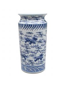 Blue and White Porcelain Lion Umbrella Stand