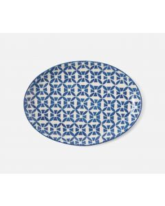 Set of 2 Small Blue and White Tile Pattern Serving Platter
