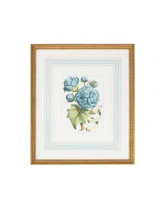 Blue Flowers with Ribbon Artwork in Gold Frame II - LOW STOCK