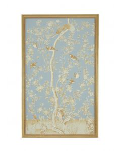 Blue Watercolor on Silk Chinoiserie Floral Birds Wall Art 'Panel 1 with Antique Gold Frame
