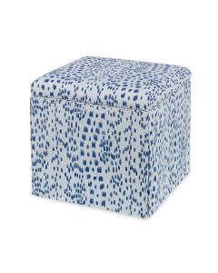 Blue Les Touches Upholstered Decorative Square Storage Ottoman