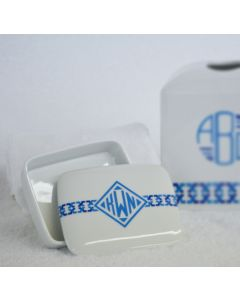 Blue Links Monogrammed Wastebasket Set