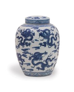 Blue and White Porcelain Lidded Dragon Jar