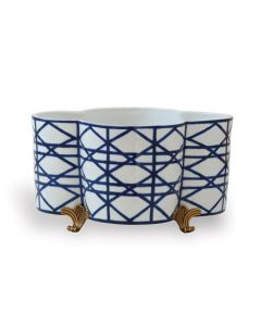 Blue & White Quatrefoil Planter Centerpiece